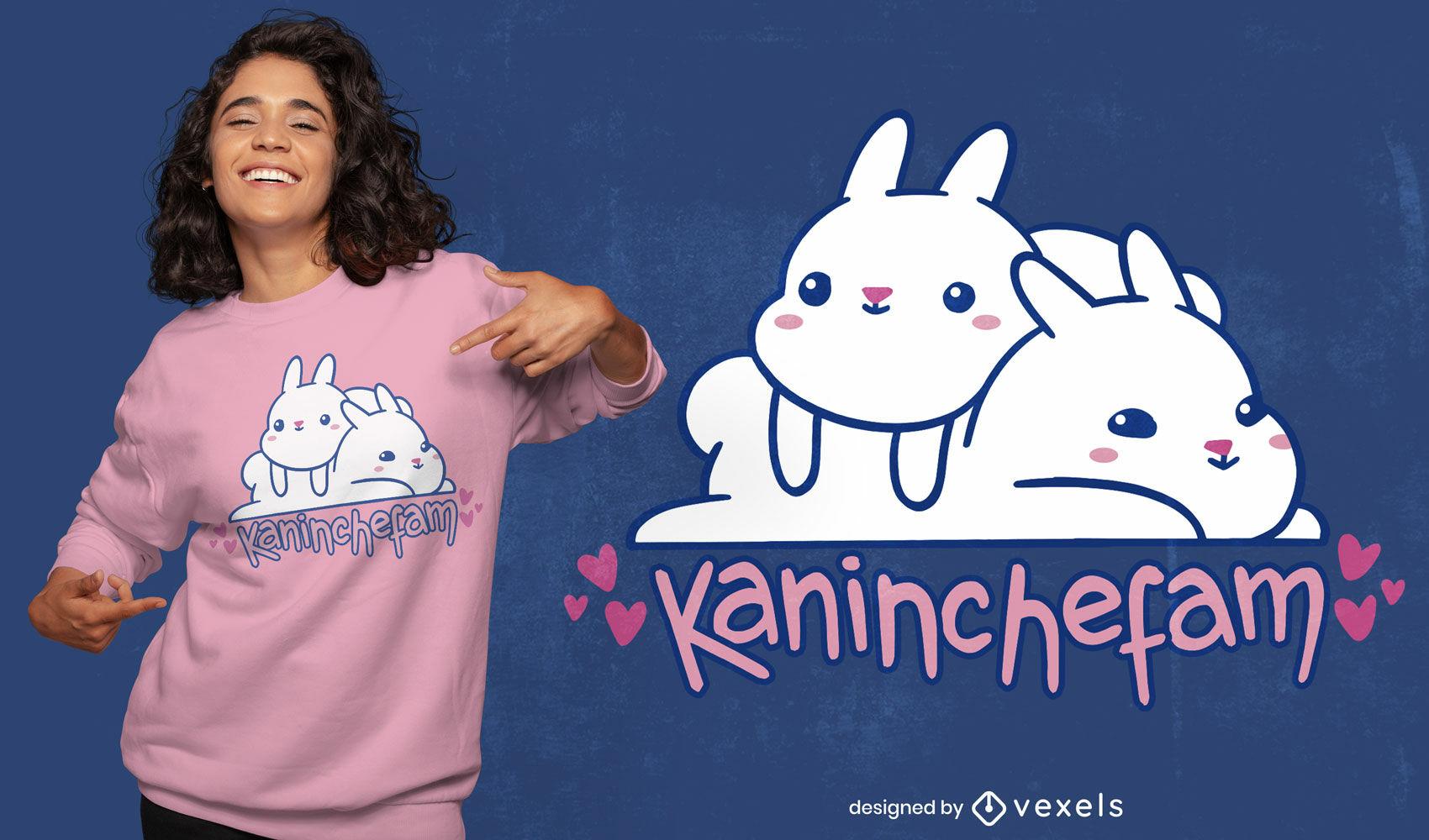 Diseño de camiseta lindo conejo animal amigos