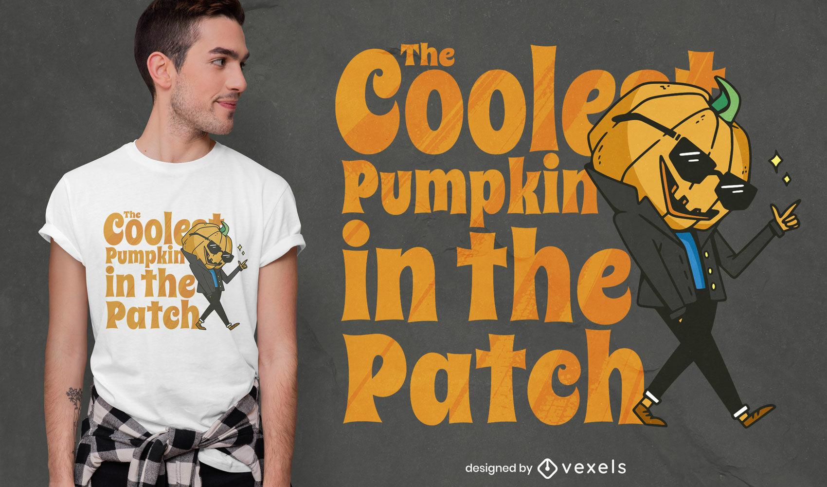 Pumpkin man with sunglasses t-shirt design