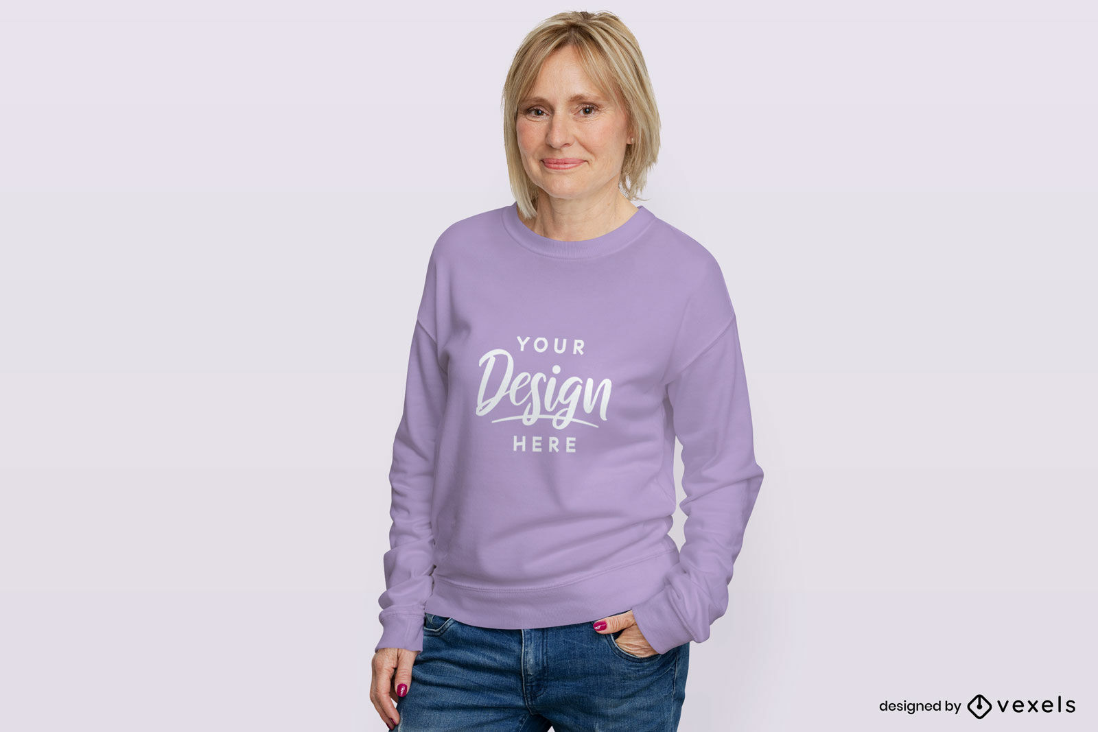 Frau im flachen Hintergrundmodell des purpurroten Sweatshirts