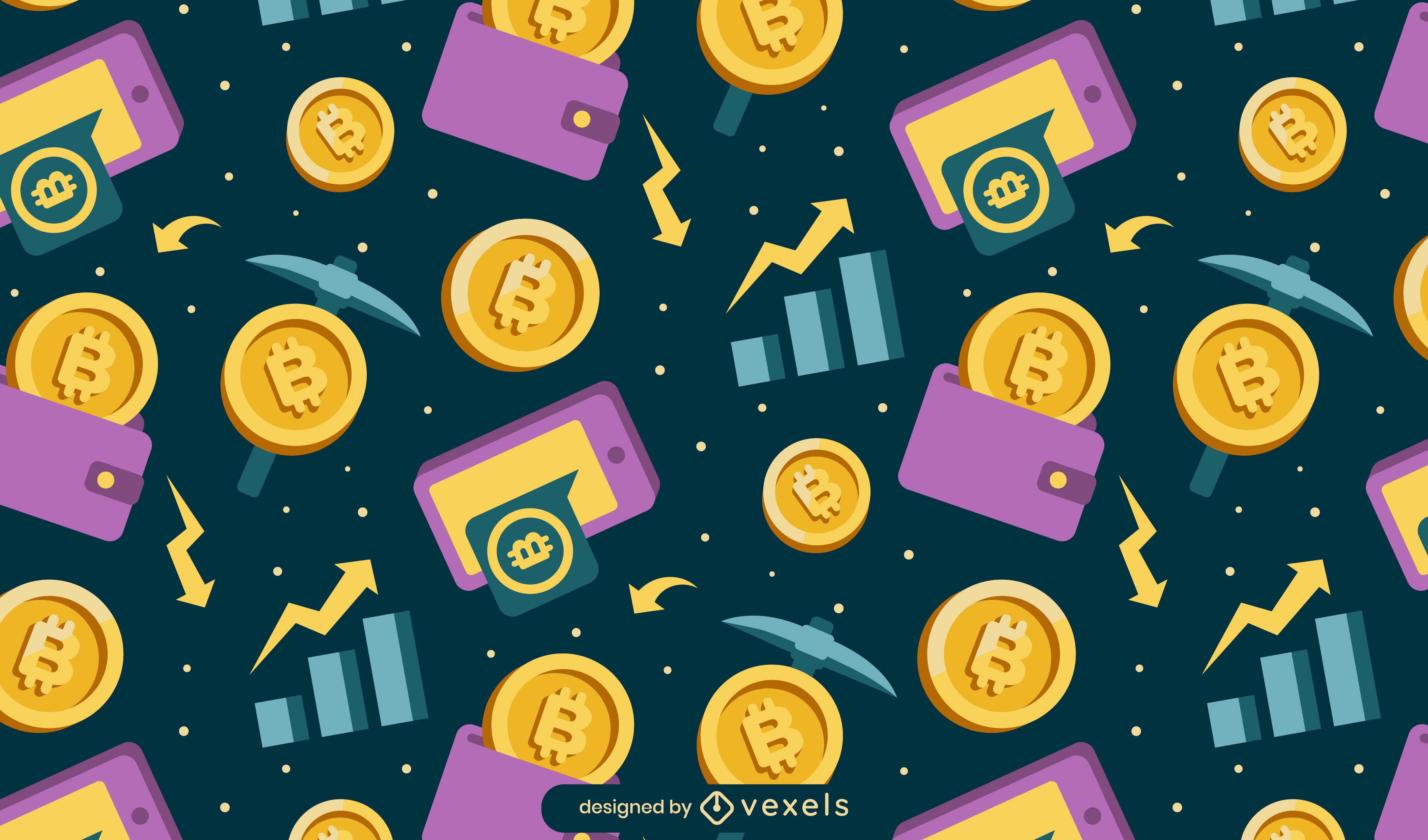 Dise?o de patr?n de monedas de criptomoneda Bitcoin