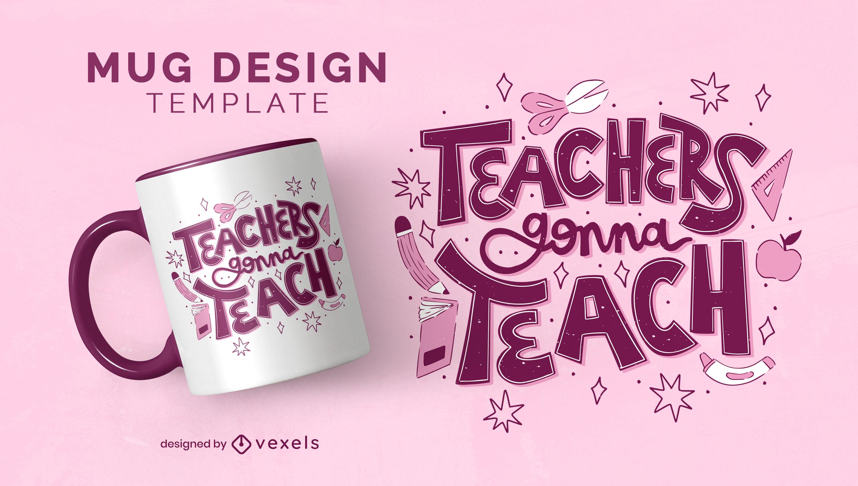 Profesor va a enseñar plantilla de taza