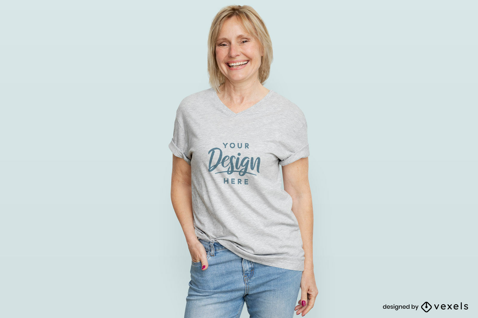 Woman in white t-shirt flat background mockup
