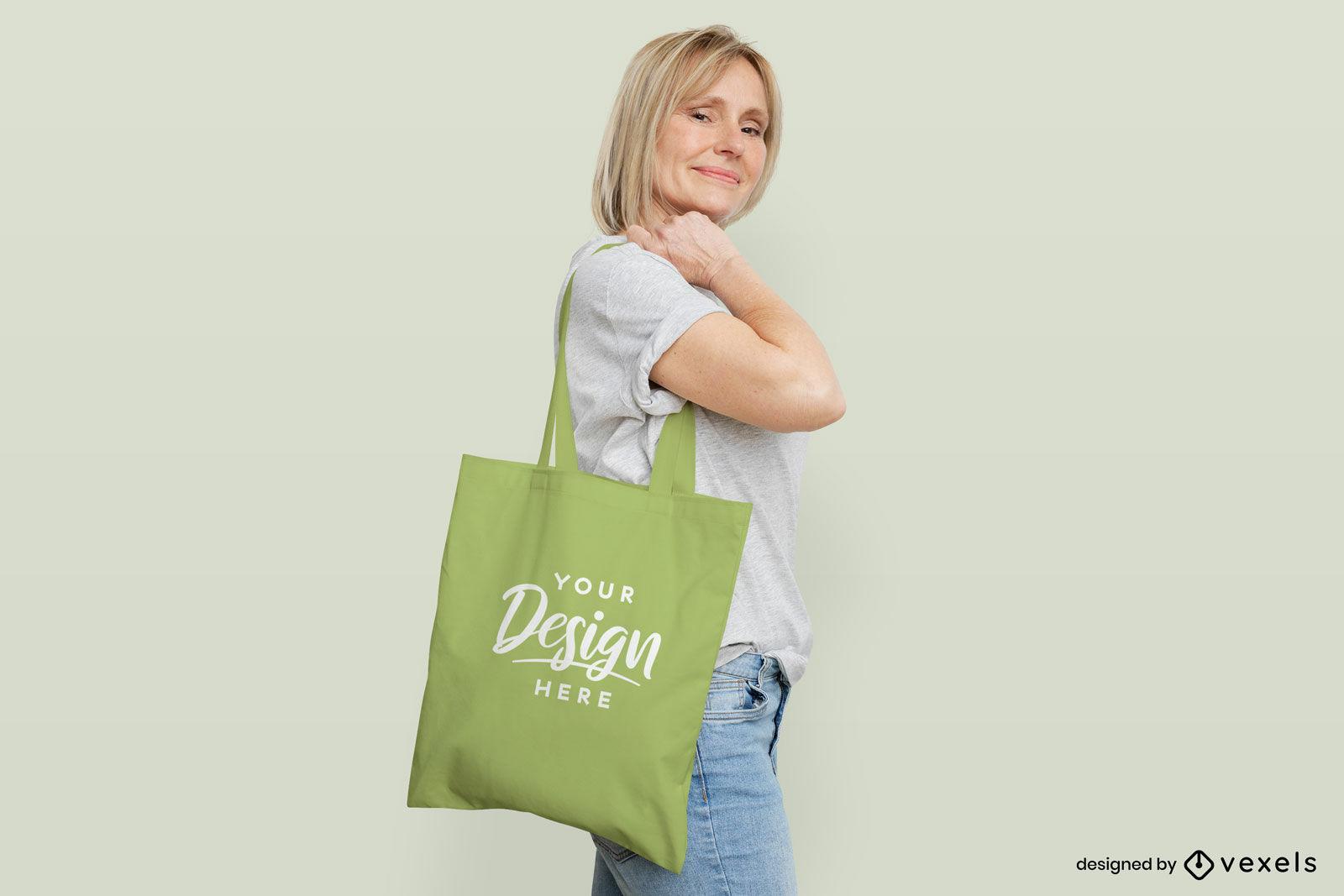 Woman green tote bag flat background mockup