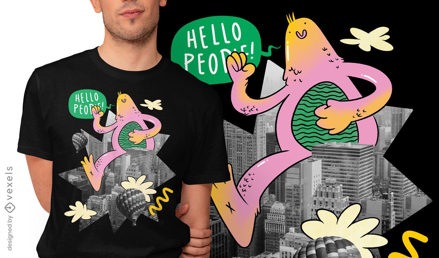 Cool friendly monster t-shirt design