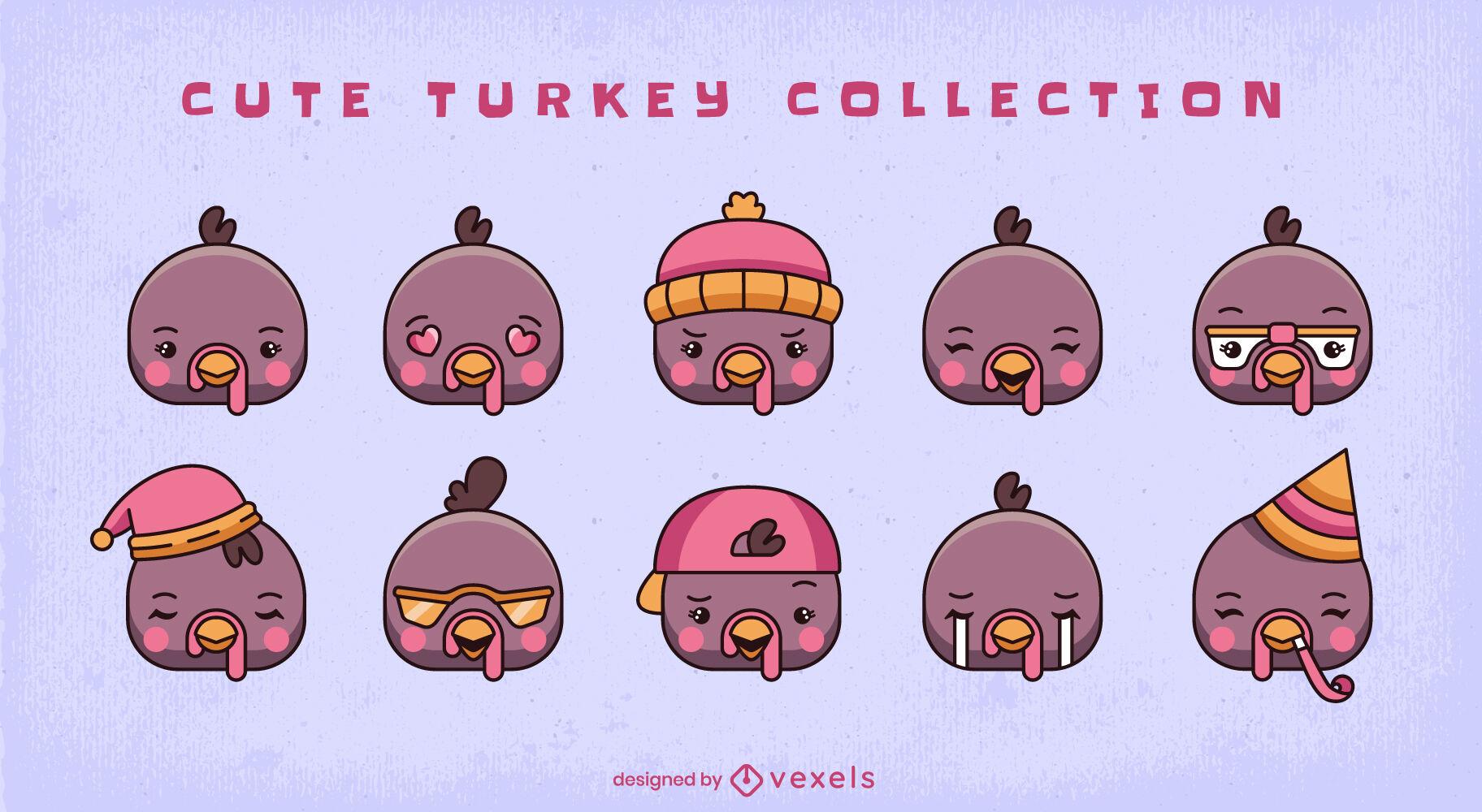 Cute turkey cartoon animal emotions set