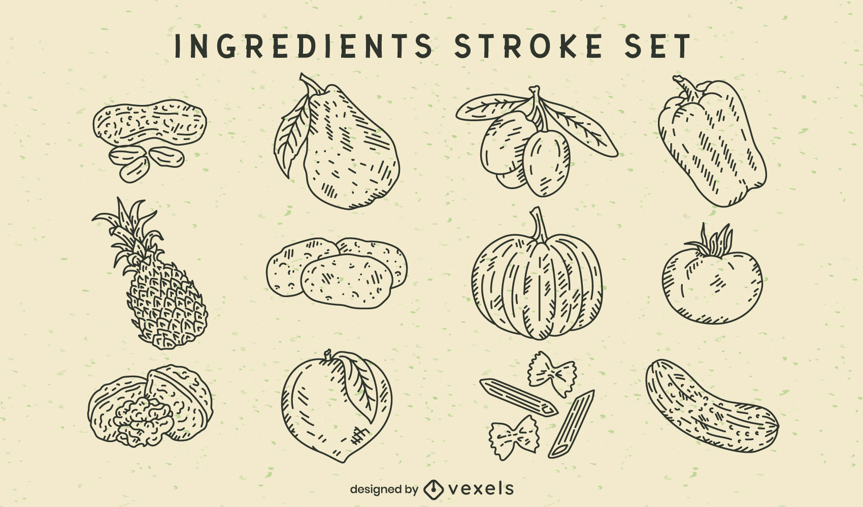 Conjunto de ingredientes de frutas y verduras.