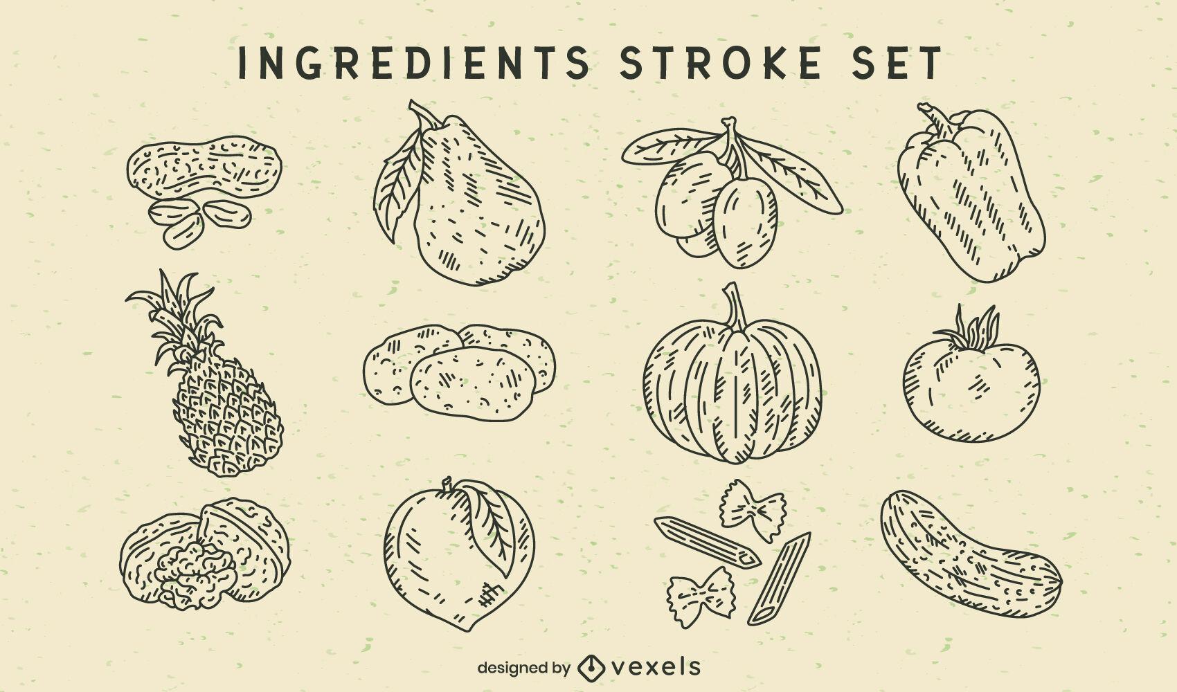 Vegetables and fruits ingredients set