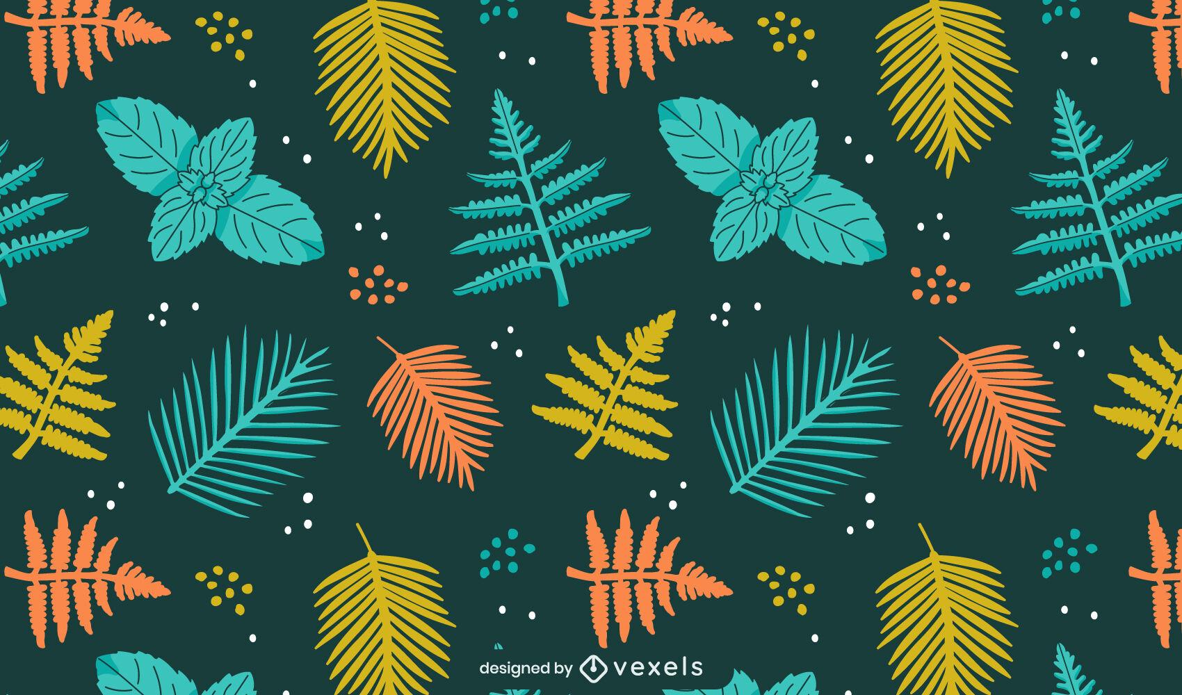 Plant leaves nature pattern design