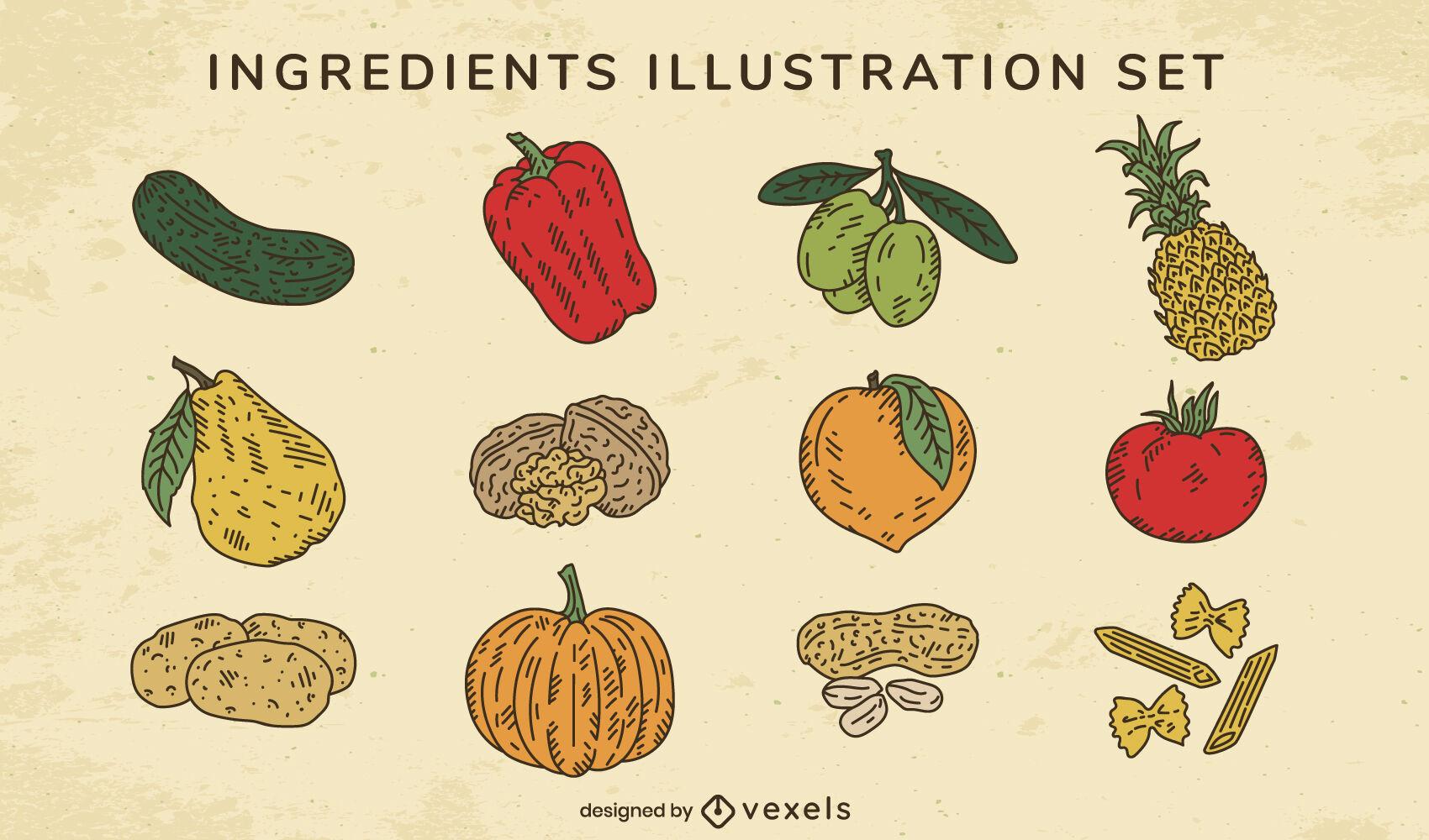 Vegetables and fruits cooking ingredients set