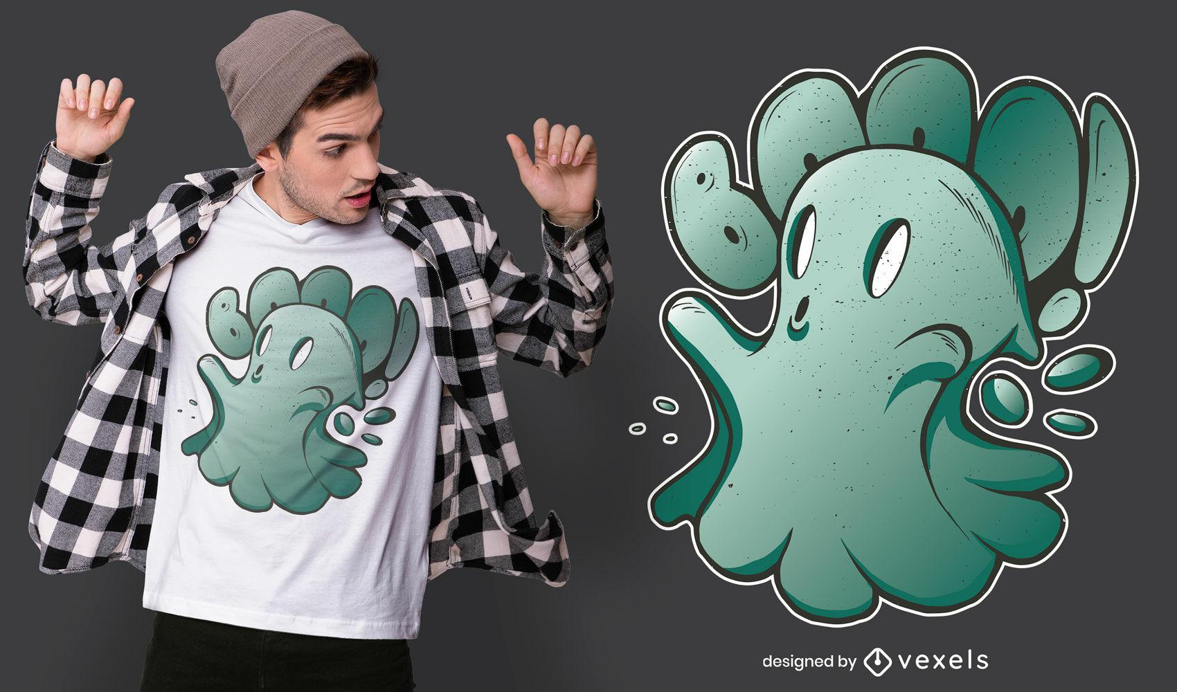 Fantasma fofinho assustando o design de uma camiseta do dia das bruxas