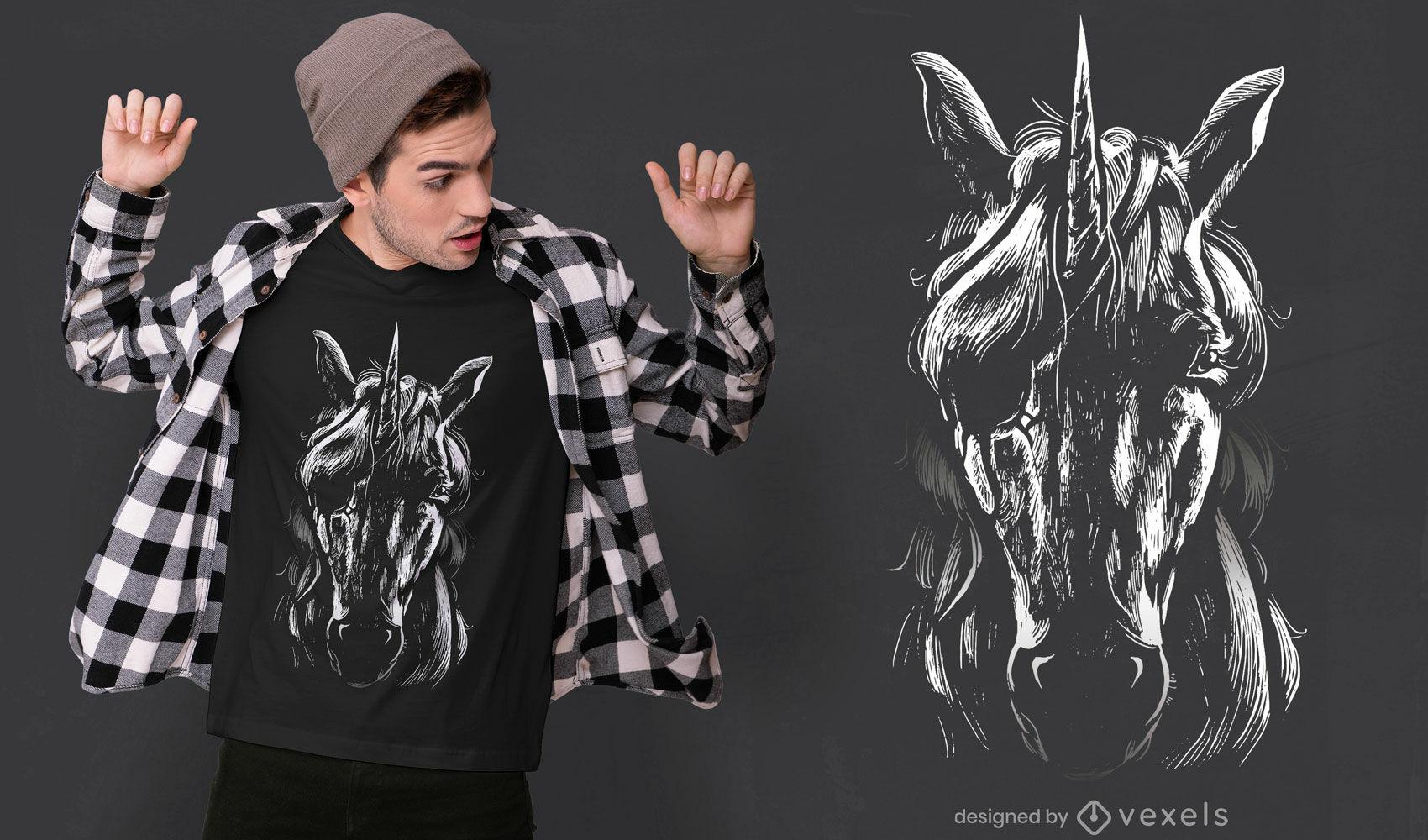 Desenho de camiseta Unicórnio com tapa-olho
