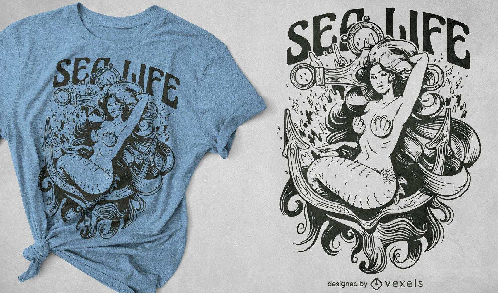 Sirena mitol?gica en dise?o de camiseta de ancla.