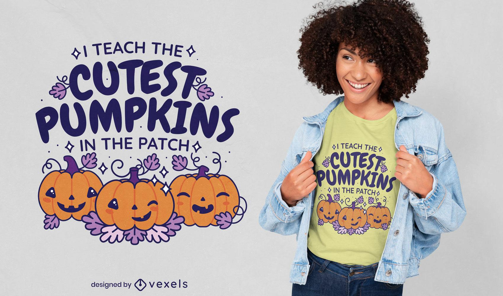 Design de t-shirt de halloween fofas com abóboras