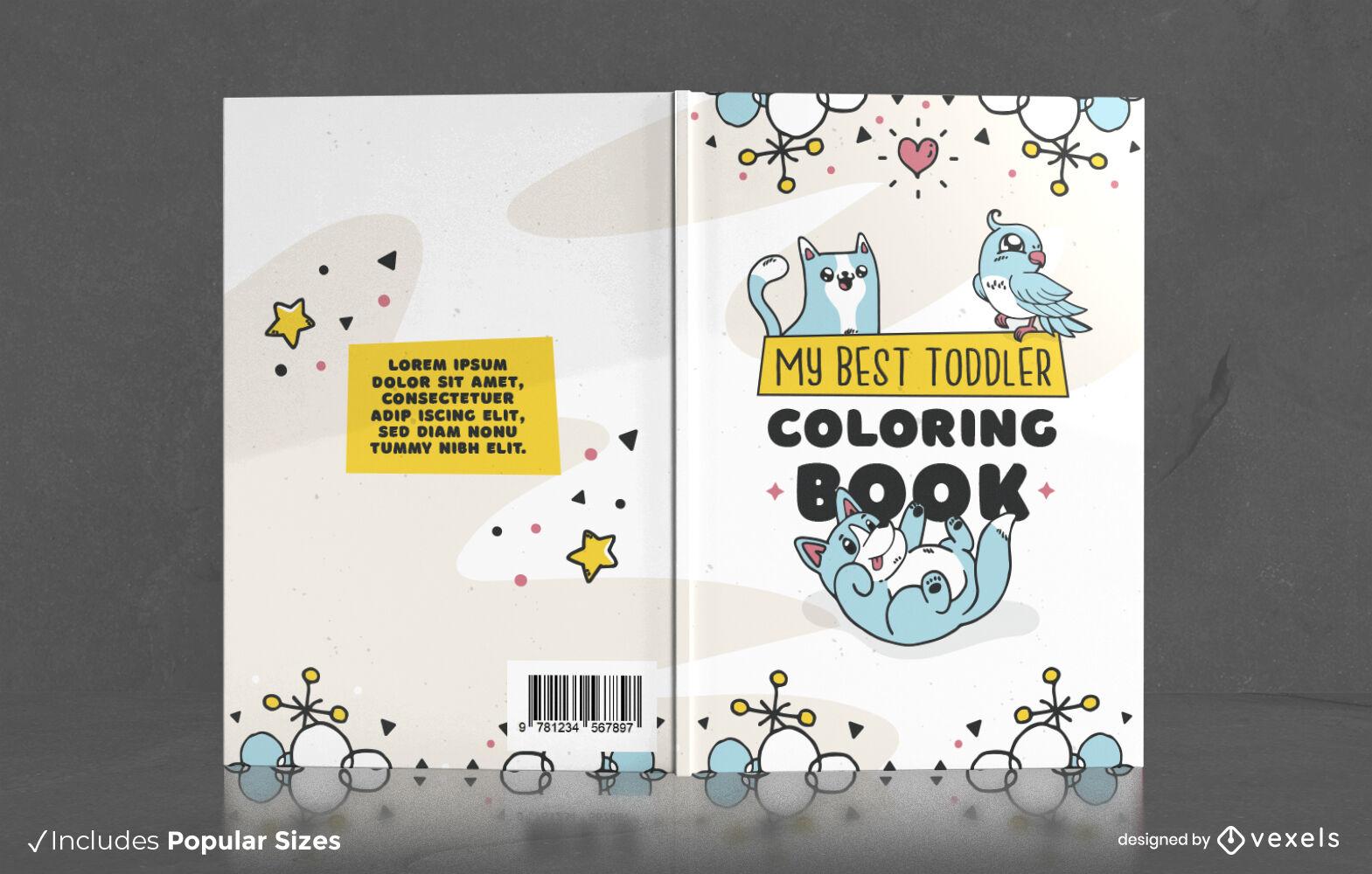 Diseño de portada de libro de garabatos de animales lindos