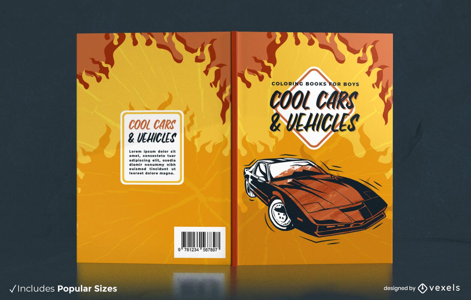 Diseño de portada de libro de incendios de coche deportivo