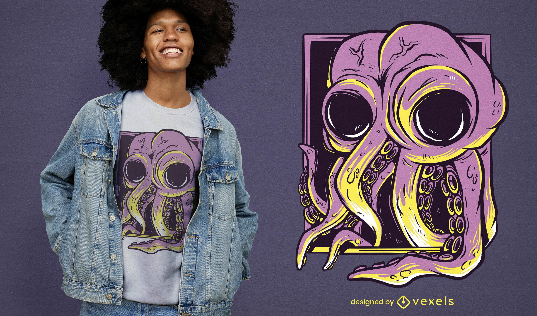 Octopus on portrait t-shirt design