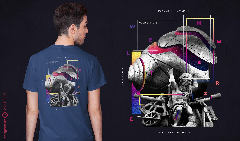 Estátua com design de t-shirt psd de peso