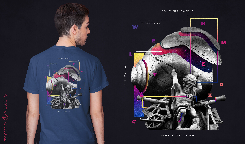 Statue mit Gewicht PSD T-Shirt Design