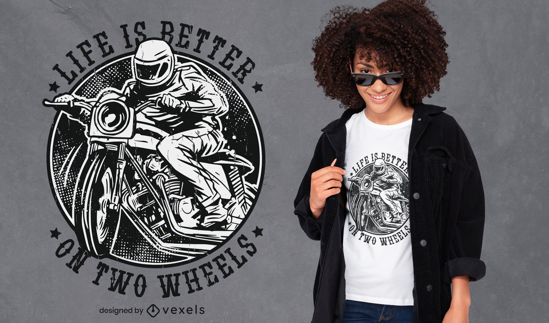 La vida es mejor diseño de camiseta de motociclista.