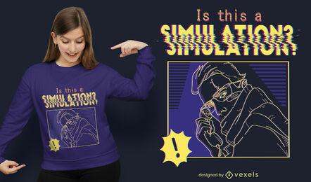 Diseño de camiseta de simulación cibernética.