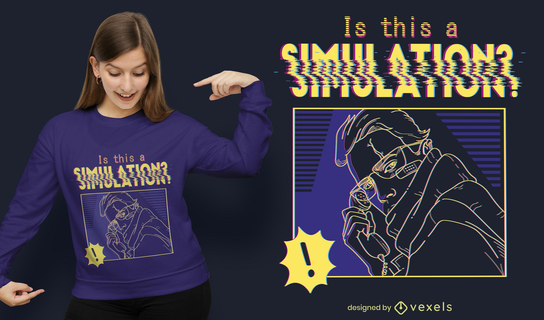 Dise?o de camiseta de simulaci?n cibern?tica.