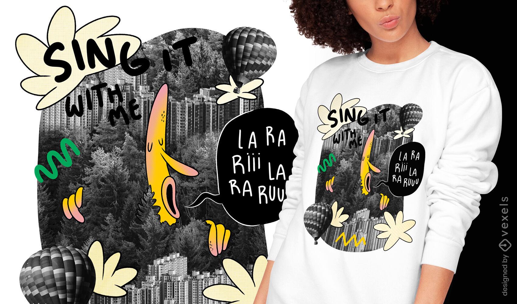 Design de camiseta gigante cantando