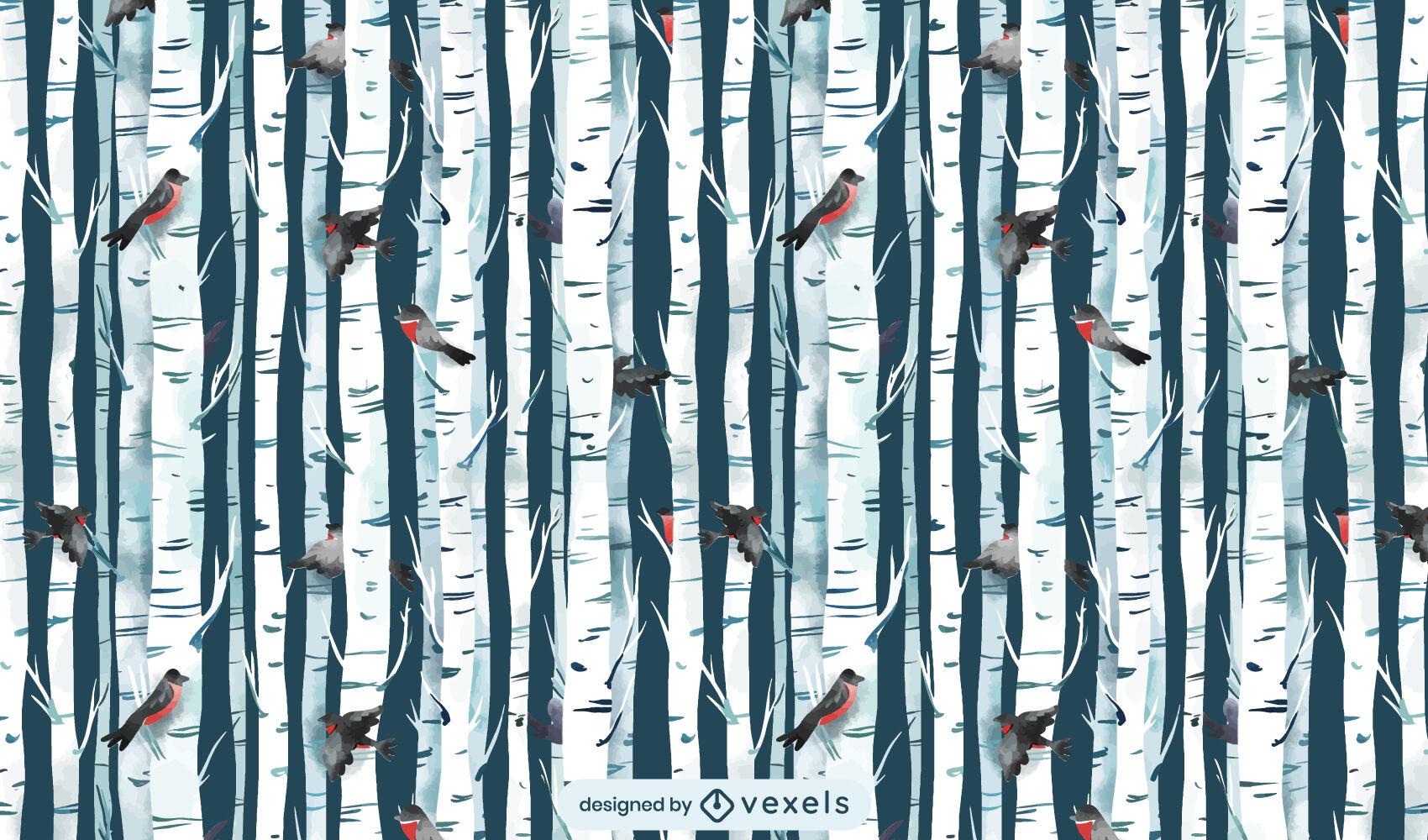 Winter forest with birds pattern design