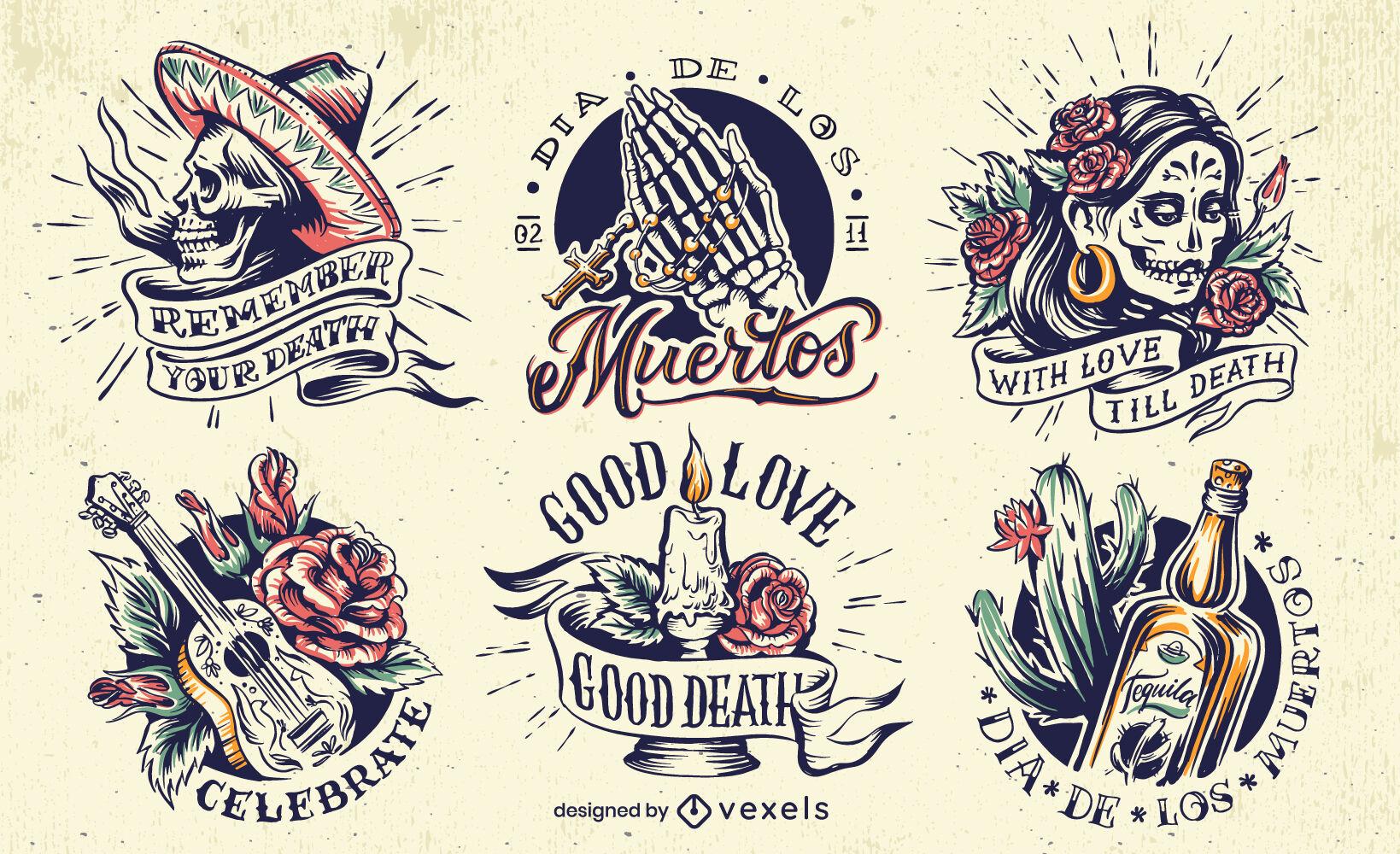 Conjunto de emblemas do feriado do Dia dos Crânios Mortos
