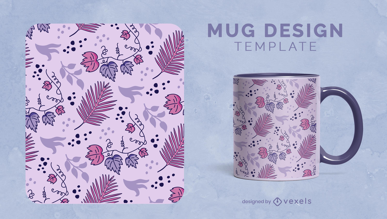 Diseño de taza de naturaleza de hojas y plantas púrpuras