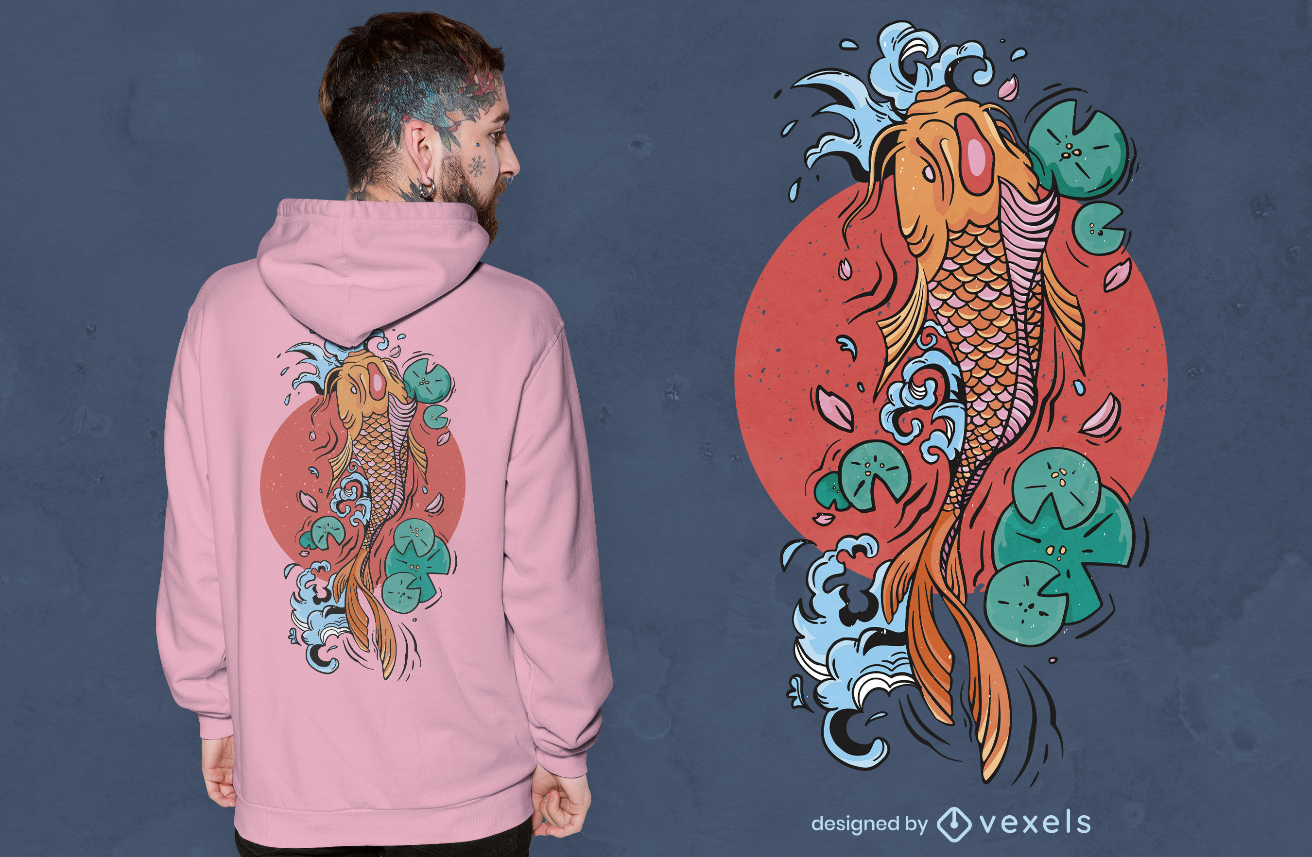 Diseño de camiseta de pez koi japonés