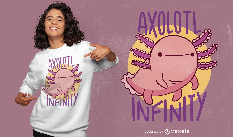 Design de t-shirt animal Axolotl infinito