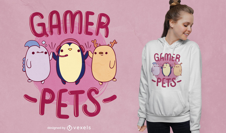 Cute gamer pets t-shirt design