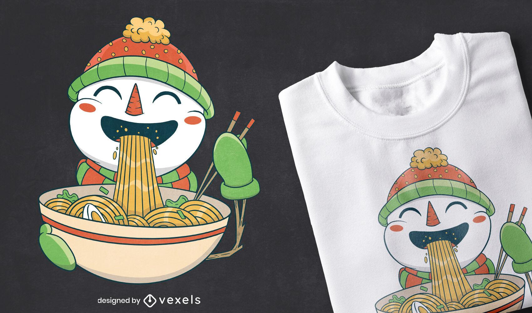 Boneco de neve comendo ramen com design de camiseta