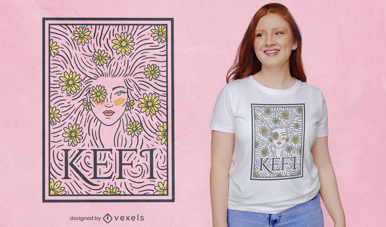 Diseño de camiseta floral kefi joy