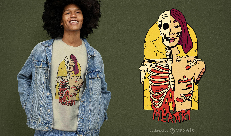 Merak skeleton woman t-shirt design