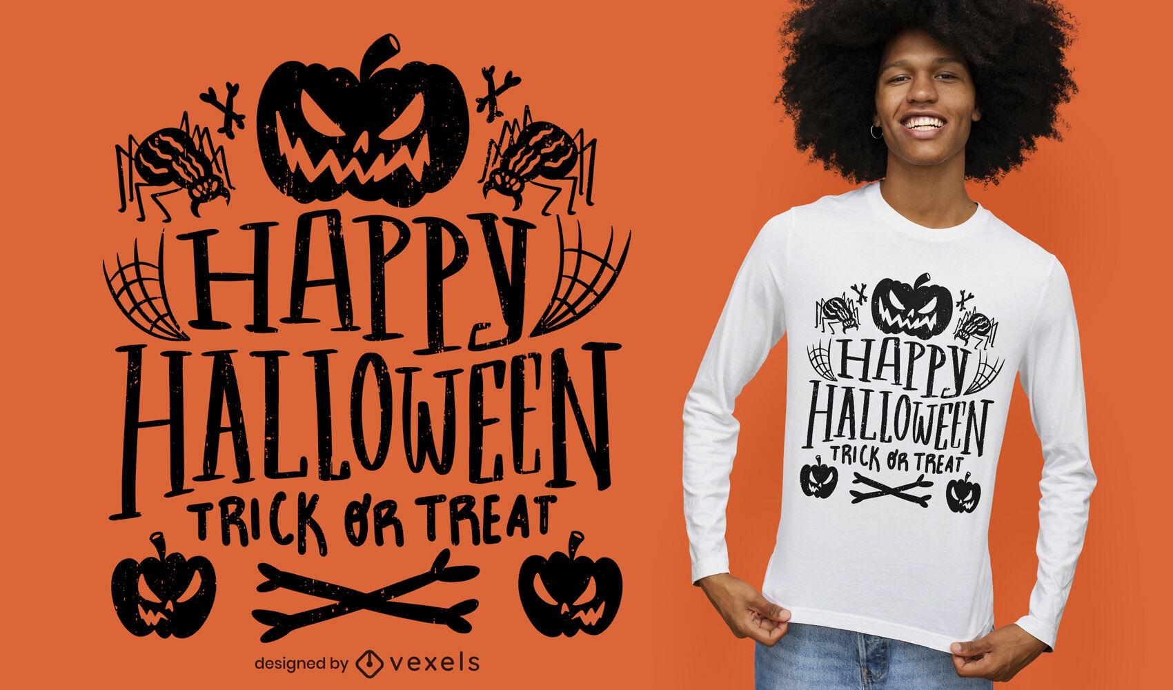 Design de t-shirt feliz feriado do dia das bruxas