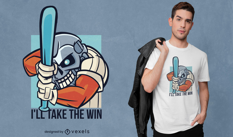 Robot man baseball player t-shirt design