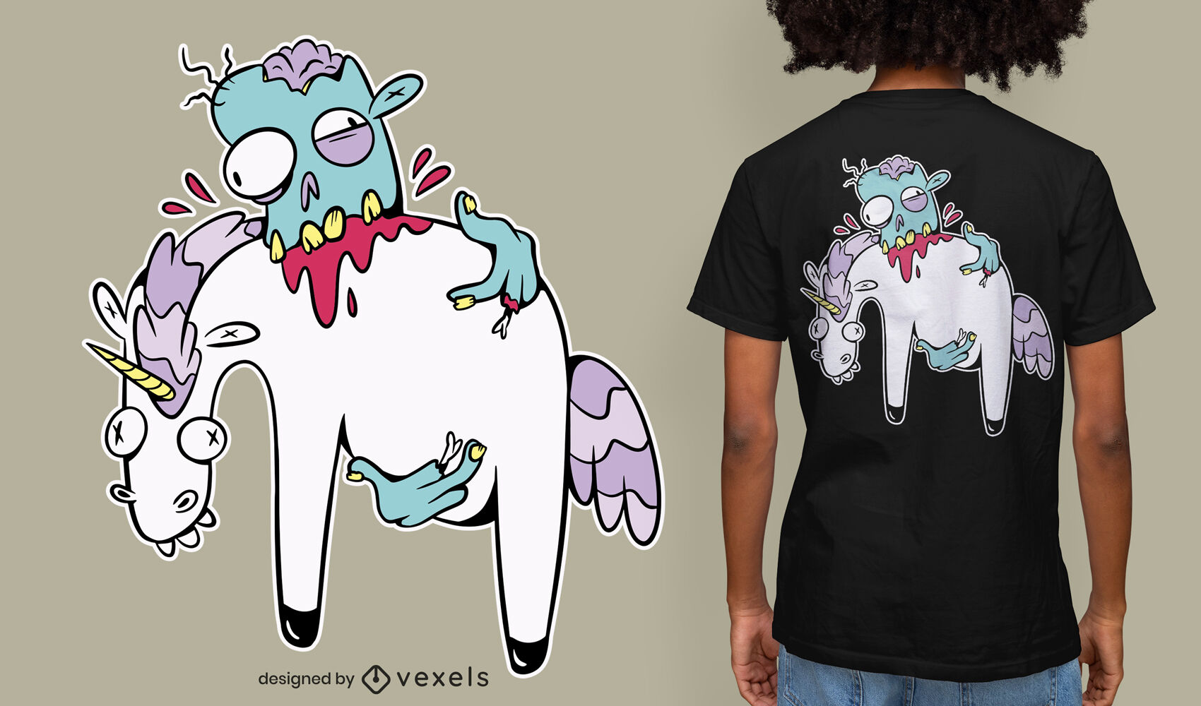 Zombie, der Einhorn-Cartoon-T-Shirt-Design isst