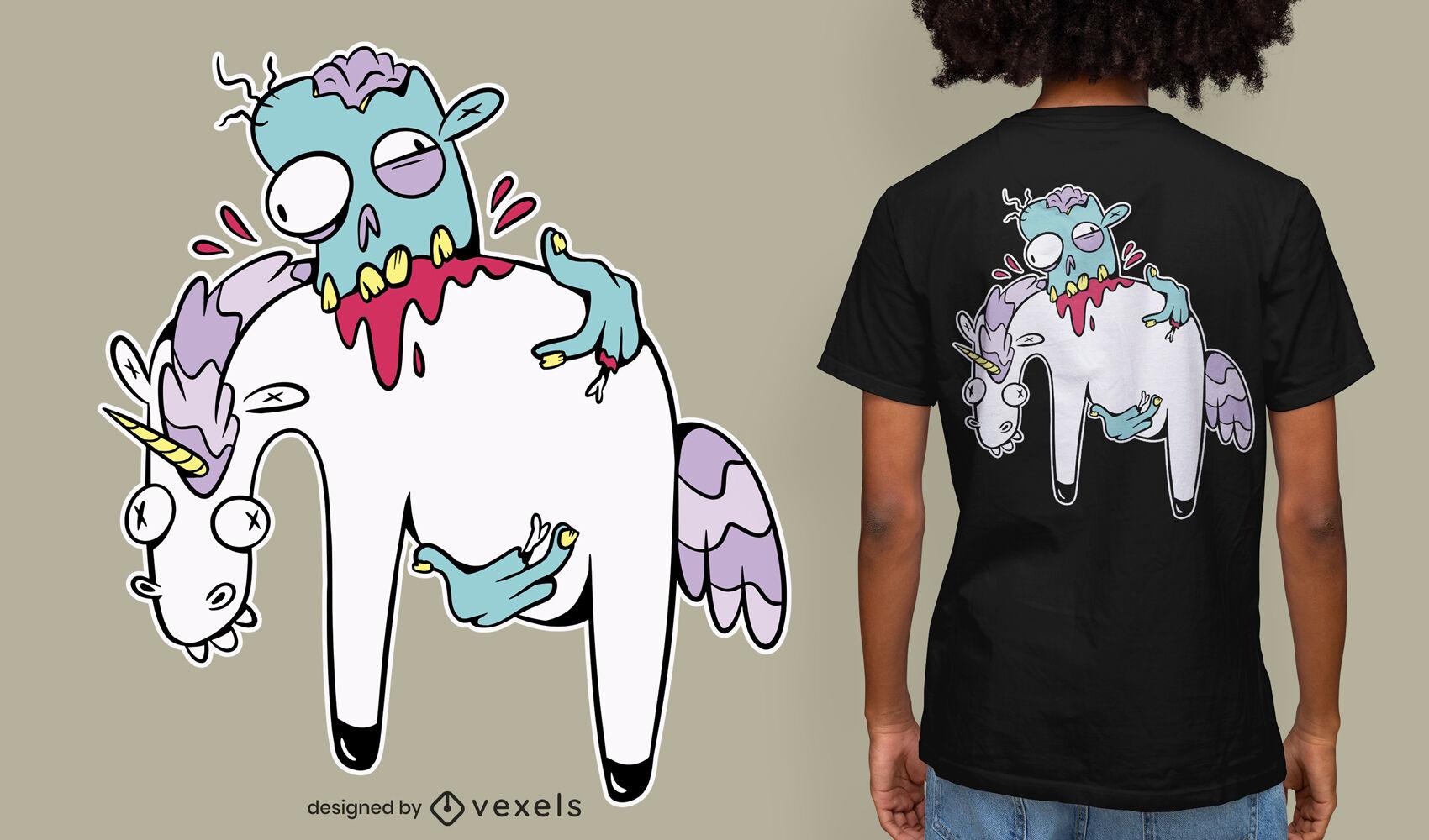 Zombie eating unicorn cartoon t-shirt design