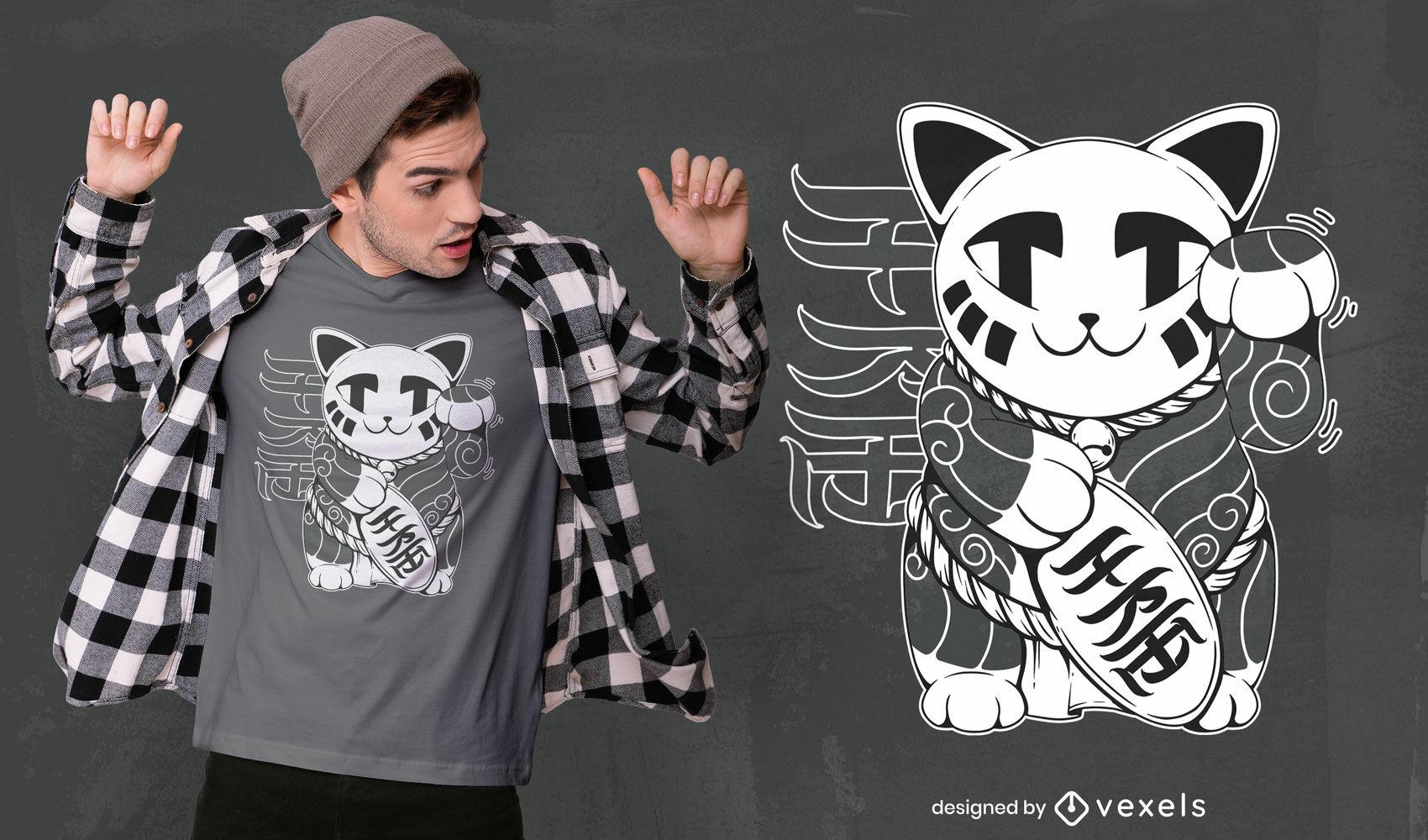 Design de camiseta com animal japonês para gato da sorte