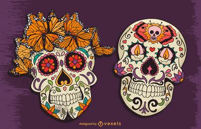 Day of the dead sugar skull illustration