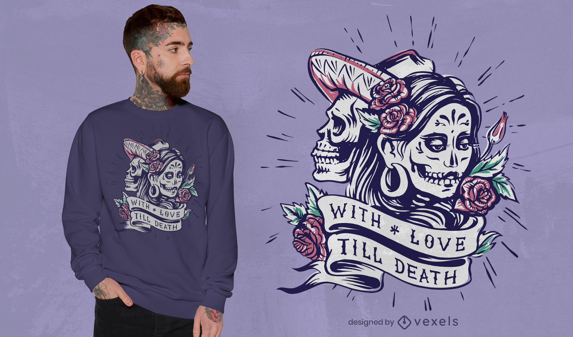 Dise?o de camiseta de amor del d?a de los muertos.