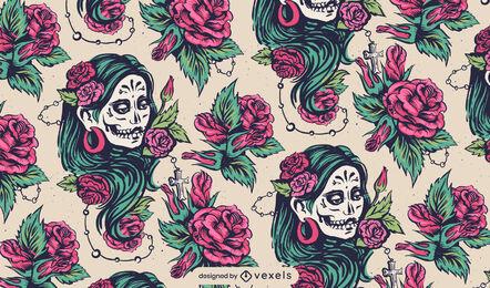 Diseño de patrón de mujer floral del día de los muertos.
