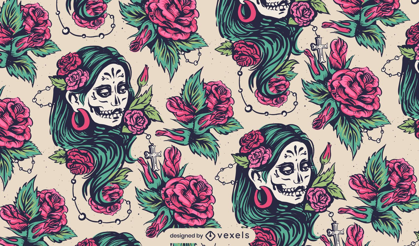 Dise?o de patr?n de mujer floral del d?a de los muertos.