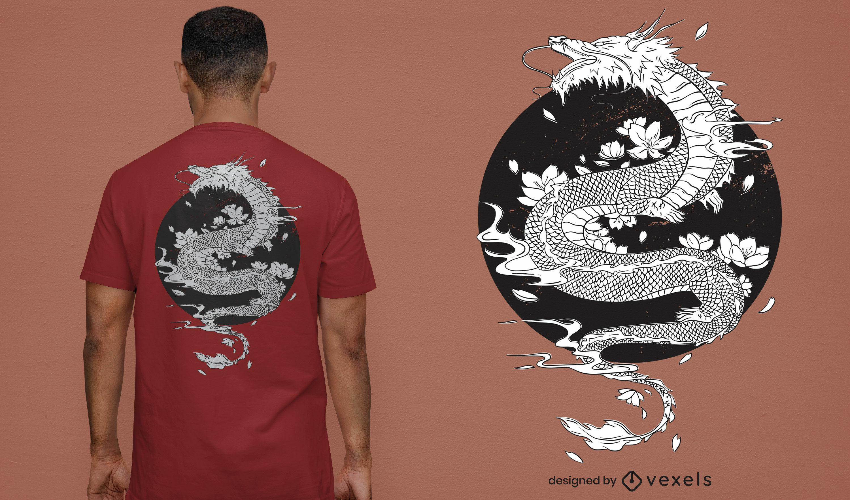 Japanisches T-Shirt mit weißem Drachen