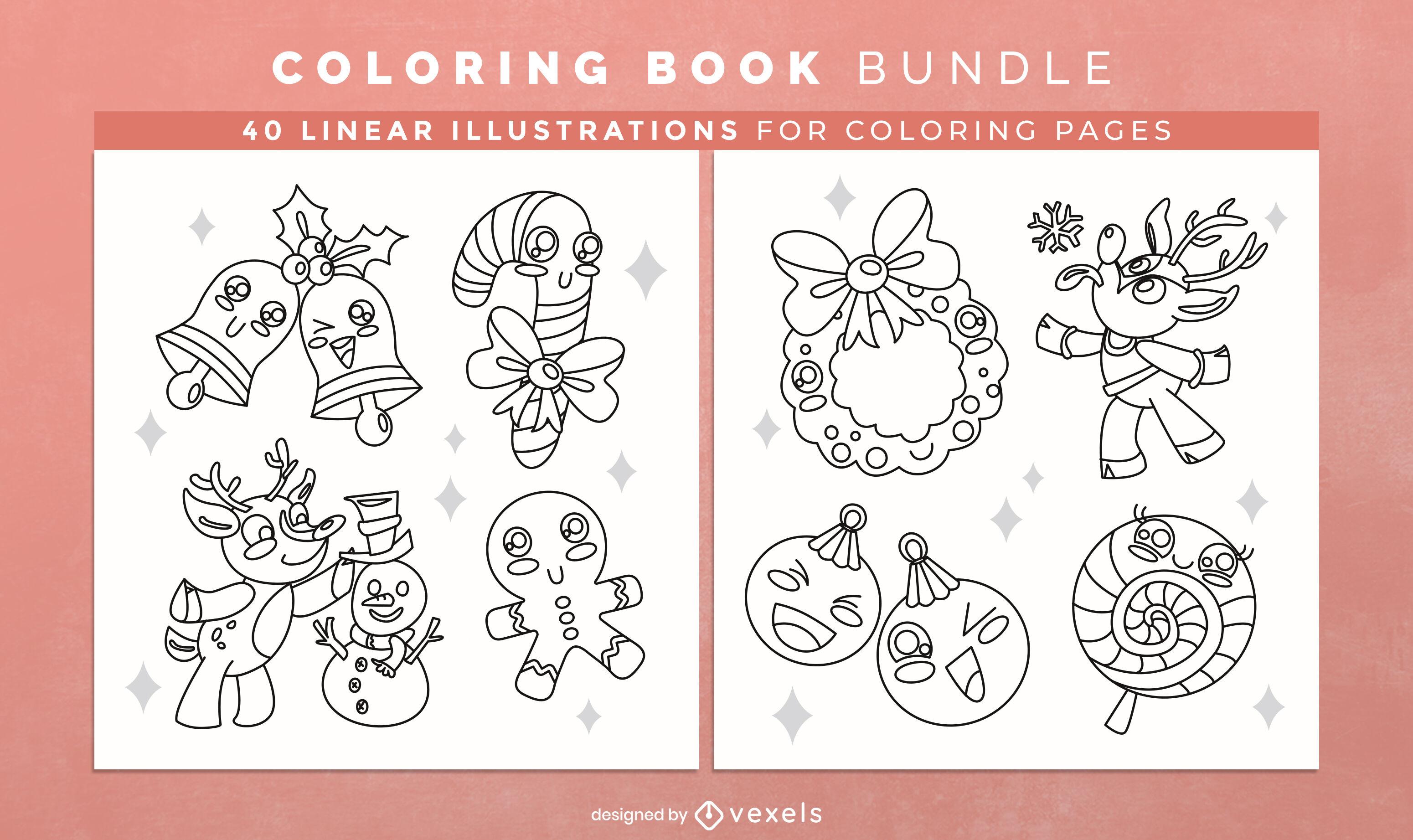 Adornos navideños para colorear páginas de diseño de libros