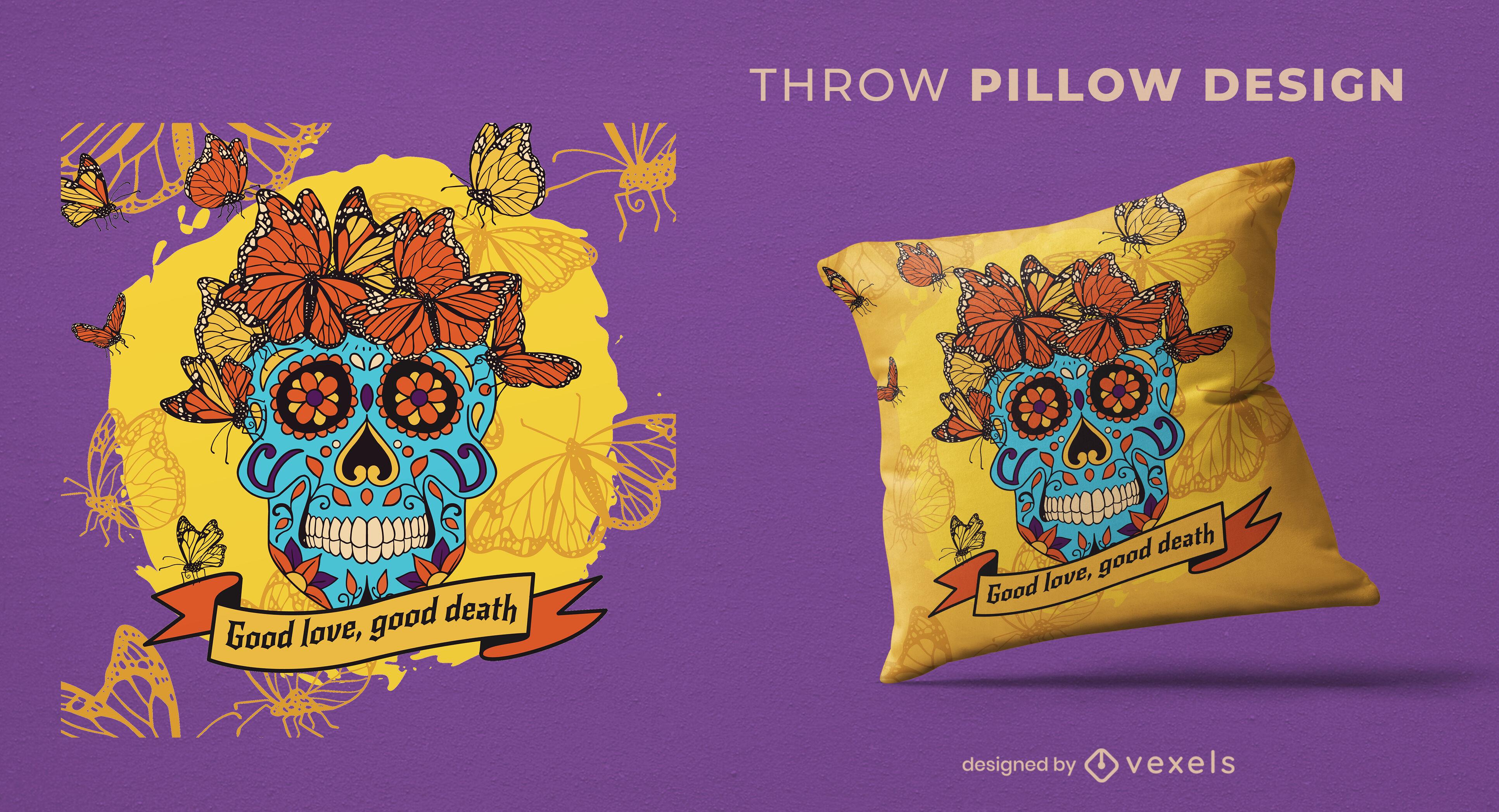 Design de travesseiro decorativo do Dia do Crânio Morto