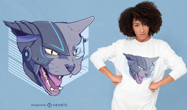 Design de camiseta do cybercat irritado