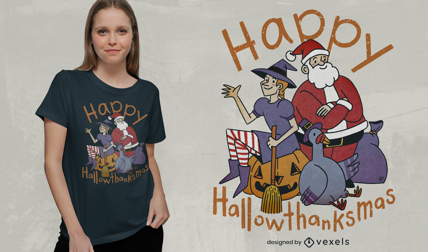 Holiday characters psd t-shirt design