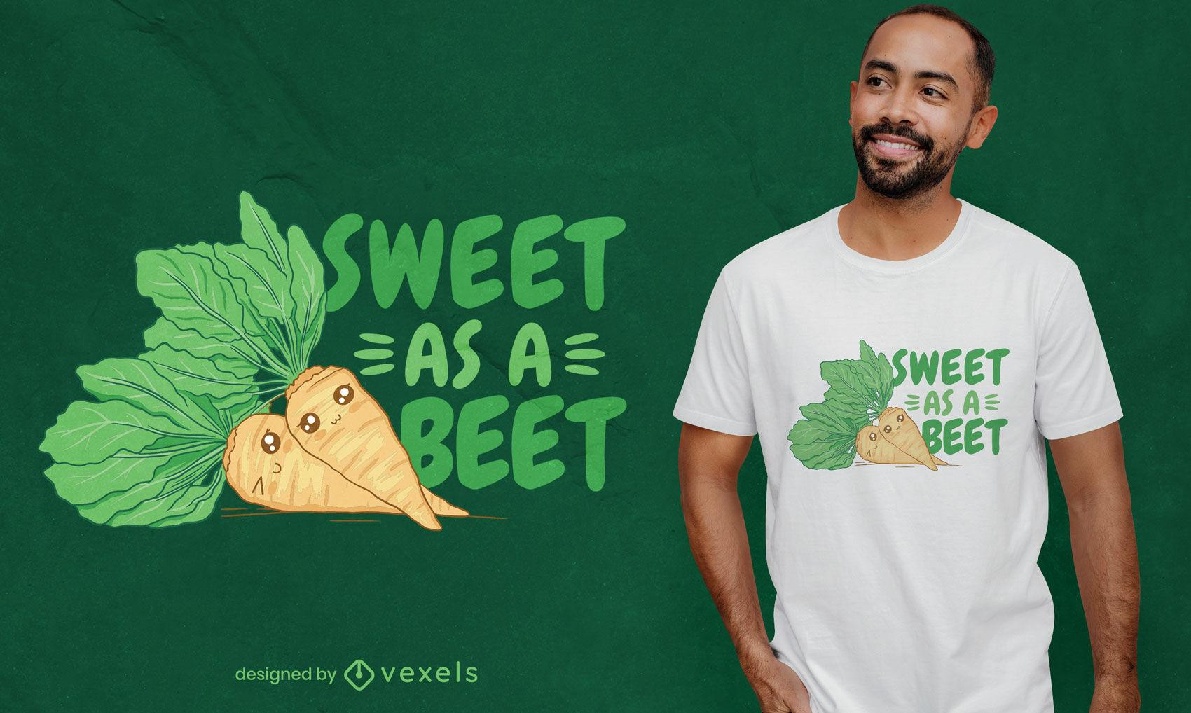Diseño de camiseta de remolacha dulce